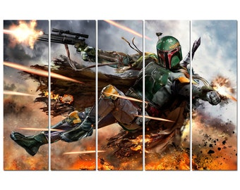 Star Wars Boba Fett Poster Multi Panel Ready To Hang Canvas Print