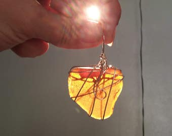 Amber Sea Glass Pendant - Sterling Silver
