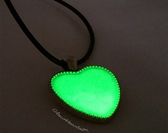 Bright Green Glow Heart Glow in the Dark Necklace