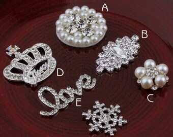 Hot Fix Metal Pearl Buttons for Girls Hair Accessories Alloy Crystal Flatback Rhinestone Buttons for Wedding Ornaments