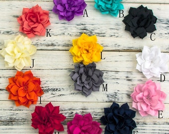 """3.4"""" 13Colors Double-Layer Lotus Flowers For Baby Hair Clips Hair Accessories Winter Fabric Flowers For Headbands"""