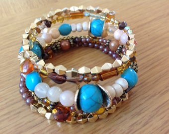 Stunning Gold and Teal Memory Wire Bracelet, Boho Style Layered Bracelet, Bohemian Style Bracelet, Bohemian Jewellery Gift for her