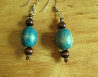 Blue and Brown Wooden Dangles