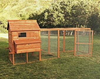 "12' Foot Run Ranch Chicken Coop Holds 15 Chickens Douglas Fir w/ Nest Boxes 142"""