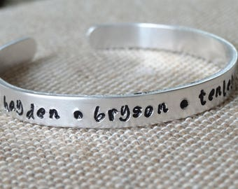 Personalized hand stamped Mother's Day cuff Bracelet