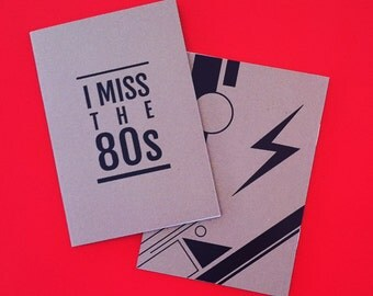 I Miss the 80s Notebook - Plain Paper Notepad, 1980s Retro, Cool Stationery
