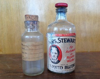 Vintage Bottles with Original Labels Mrs Stewart's Bluing