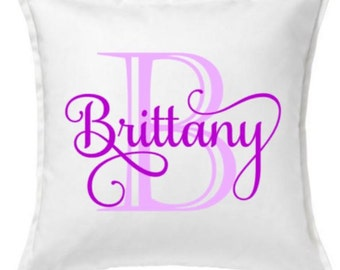 18 inch White Cotton Pillow Cover - First Initial and Name - Personalized