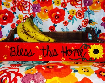 FREE SHIPPING! Handpainted farmhouse wooden tray, Bless this Home