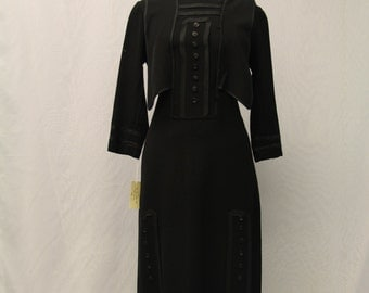 1920's Long Sleeve Black Dress with Trim and Buttons