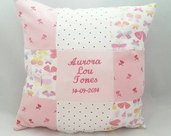 patchwork memory cushion, baby clothes keepsake cushion, nursery cushion, baby memory cushion, first birthday gift, Christening gift