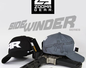 Sidewinder AR-15 Baseball Cap with Snap Back Closure in Grey