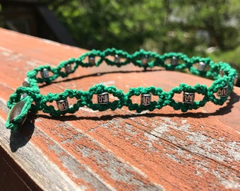 Green Bramble Hemp Choker Necklace with Silver Beads and Wooden Toggle and Loop