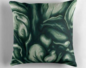 Emerald Green cushion - green abstract painting art print - winter garden patio porch decor