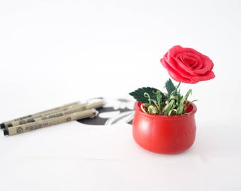 Paper rose, crepe paper rose, realistic paper flower, paper red rose,paper flower
