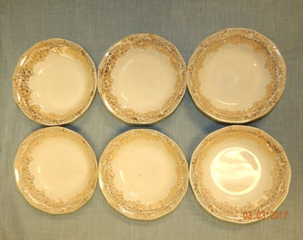 ROYAL CHINA - 22-K-GOLD -Duane Pattern Desert/Fruit Bowls 6 total National Brotherhood of Operative Potteries
