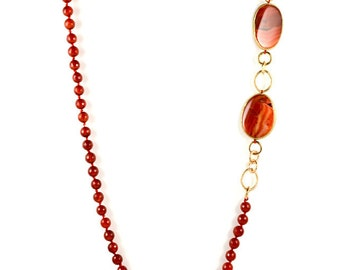 Carnelian Long Statement Necklace With Resin Trim