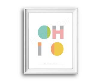 Ohio, United States of America, State Ohio, Ohio print, Printable, Instant Download, Ohio Gift, 50 States USA, Home decor,Typographic design