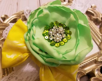 Baby Girl Headband, Green and Yellow Girls Headband, Lace Headband, Couture Girl Flower Headband, Green Headband, Yellow Headband, Girls Bow