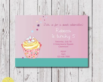 cupcake birthday invitation, digital download, invitation printable