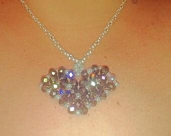 Purple heart beaded necklace