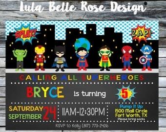 Superhelden Einladung, Superhelden Einladung, Superhero Party, Superhelden  Geburtstags Party,