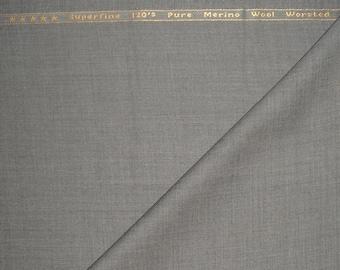 120s Pure Merino Wool Worsted, BRUUNS BAZAAR COPENHAGEN Suiting Fabric Light Gray 3.5m