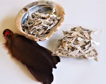 White Sage Smudge Kit, Cleansing Kit, Ritual Kit: Large Abalone Shell, Loose Bio California Sacred Sage, Smudge Feathers, Instructions Wicca