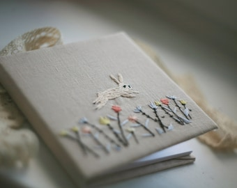 Hand embroidery notepad hare with flowers
