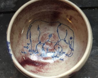 Stoneware Bowl, oxides, elephant, under enamel decoration.