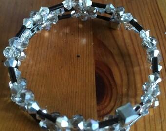 Silver & Black Memory Wire Bracelet
