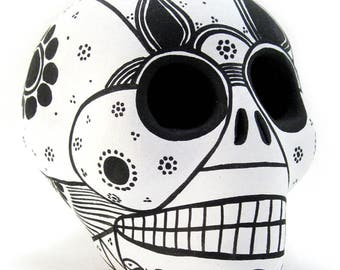 Handpainted Sugar Skull, Dia De Los Muertos Calavera, Mexican Day Of The Dead - WHITE