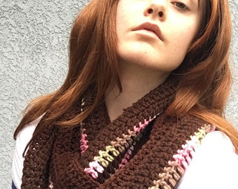 Brown Crochet Infinity Scarf with Pink and Green Accents