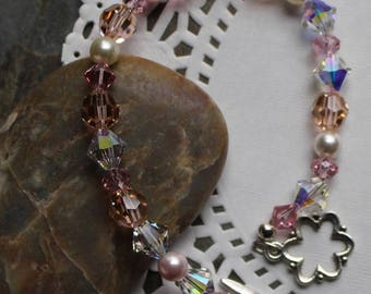 Bracelet with pink, peach, cream, clear Swarovski crystals and pearls, summer colors, sterling silver toggle clasp, B003