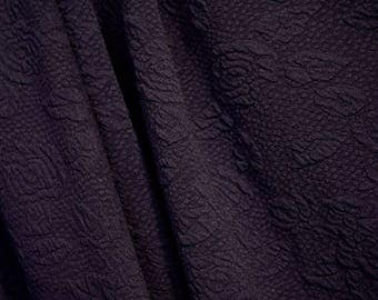 Midnight Blue Rose Stretch Fabric