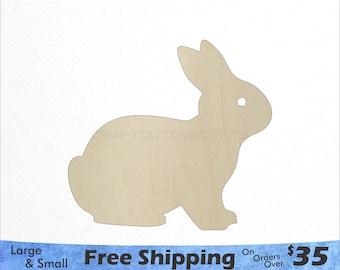 Bunny Shape - Woodland Animals - Large & Small - Pick Size - Laser Cut Unfinished Wood Cutout Shapes (SO-0117)