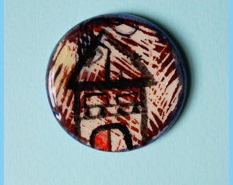 Ceramic cute brooch- abstract house brooch