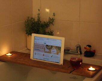 Bath Tray/Caddy- Solid Oak- Ipad/Kindle holder