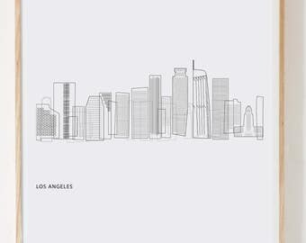 Los Angeles Print L.A. art print LA skyline PDF instant download digital download black and white art modern minimalist downtown LA
