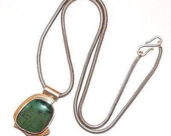 """Vintage Southwestern 925 Sterling Silver 8ct Turquoise Pendant Necklace 21"""""""
