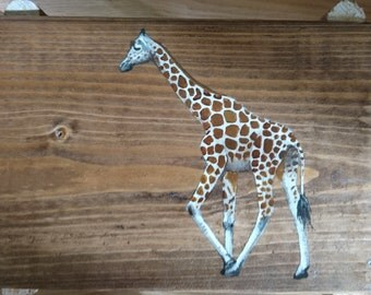 Hand made, hand painted, unique side table - Giraffe