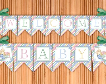 All Things Baby - Welcome Baby Printable Banner - Instant Download
