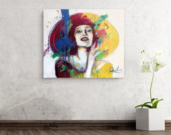 Acrylic portrait on stretched canvas, Abstract art, Acrylic painting, Ready to hang abstract portrait, Modern painting, Abstract modern art
