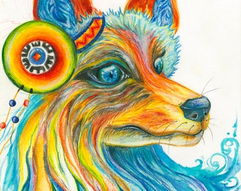 Fox watercolour art