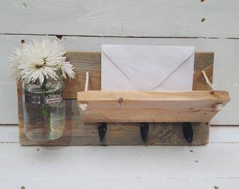 Rustic handmade mail organiser and key holder with mason jar
