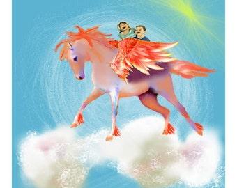 Digital Wall Art: Flying With Pegasus