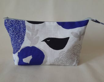 Linen makeup storage with bird print, Cosmetic organizer, Cosmetic bag, Accessory bag, Pencil case, For woman