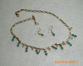 Peach & Green crystal Necklace/Earring Set