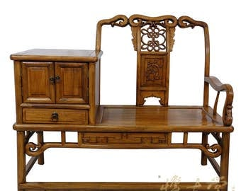 Chinese Antique Carved Camphor wood Telephone Table W/Chair 15LP05