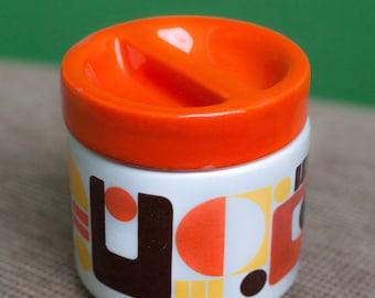 Sugar with lid - style ceramic Vintage orange of the 70s.